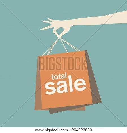 Vector illustration of woman's hand holding shopping bags.