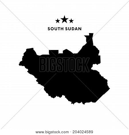South Sudan map. Stars and text. Vector illustration.