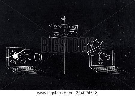 Road Sign With Cyber Threat Pirate Laptop And Cyber Security Laptop With Police Hat