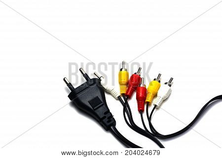 The Black Plug Cord And Signal Cable ,red And White For  Sound ,yellow For Video
