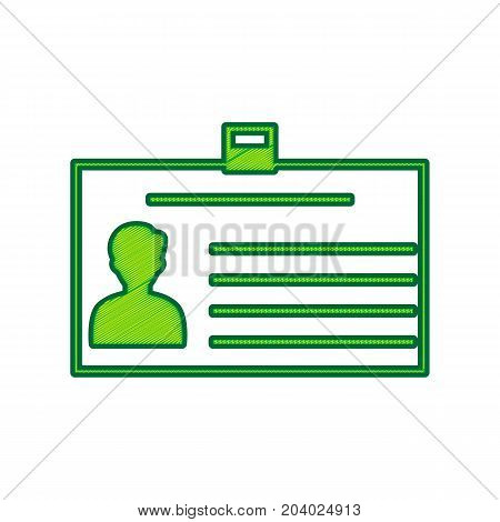 Identification card sign. Vector. Lemon scribble icon on white background. Isolated