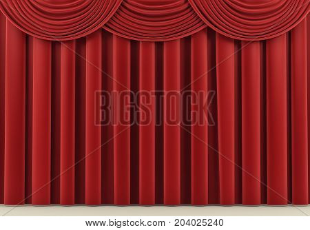 Beautiful red stage curtain. 3 d rendering