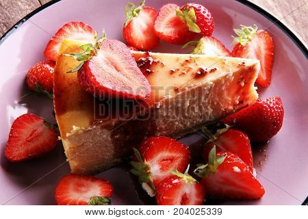 Homemade Cheesecake With Fresh Strawberries And Mint For Dessert - Healthy Organic Summer Dessert Pi