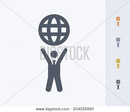 Businessman Holding Globe - Carbon Icons. A professional, pixel-perfect icon designed on a 32x32 pixel grid and redesigned on a 16x16 pixel grid for very small sizes.