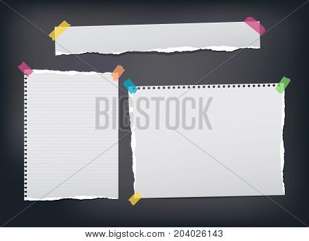 Torn ruled, note, notebook, copybook paper strips, sheets stuck with colorful sticky tape on black background