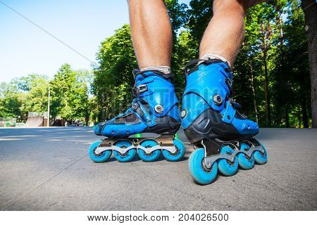 Inline Roller Skater Ready To Start.