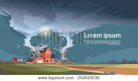 Twisting Tornado Destroying Farm Hurricane Landscape Of Storm Waterspout In Countryside Natural Disaster Concept Flat Vector Illustration