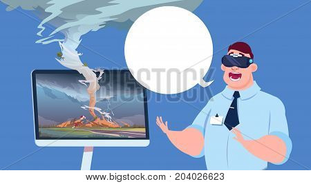 Scared Man In Virtual 3d Glasses Watching Broadcast Of Tornado Hurricane Damage News About Storm Waterspout In Countryside Natural Disaster Concept Flat Vector Illustration
