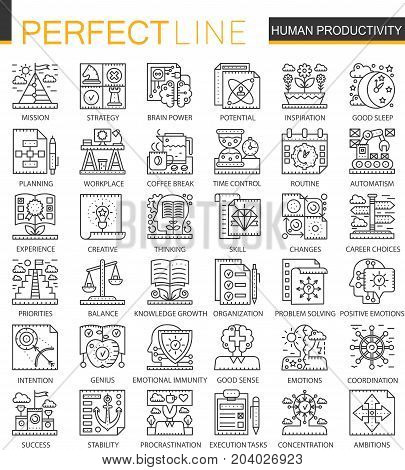 Human productivity outline mini concept symbols. Time management and discipline modern stroke linear style illustrations set. Perfect thin line icons