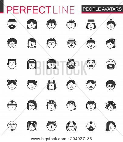 Black classic Men and Women characters avatars icons set. People avatar for web, profile page or social network