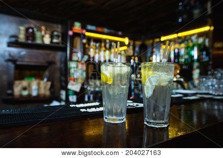 Lemonade at the bar night club. Lemonade at the bar