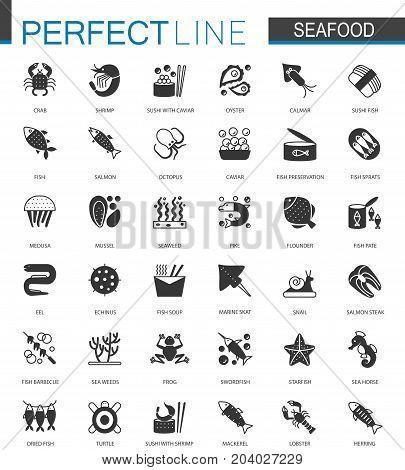 Black classic Seafood icons set. Sea food illustrations