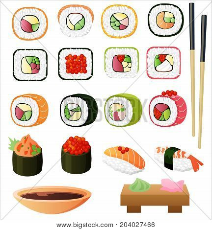 Sushi set with soy sauce and chopsticks. Vector illustration