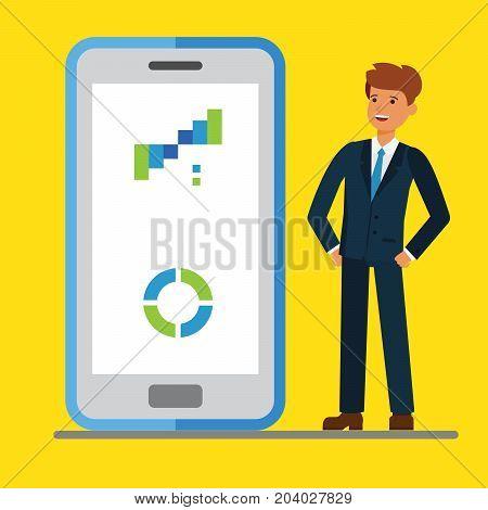 Internet mobile business. Businessmen standing near display of a big smart phone. Flat vector illustration.