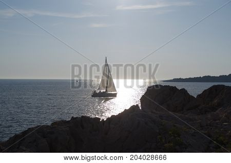 Sailboat water leisure and relax. Luxury yacht sailing in sea near island at sunny day.