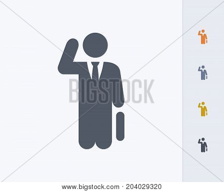 Busy Businessman - Carbon Icons. A professional, pixel-perfect icon designed on a 32x32 pixel grid and redesigned on a 16x16 pixel grid for very small sizes