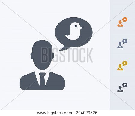 Chatting Businessman Avatar - Carbon Icons. A professional, pixel-perfect icon designed on a 32x32 pixel grid and redesigned on a 16x16 pixel grid for very small sizes