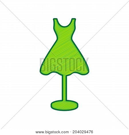 Mannequin with dress sign. Vector. Lemon scribble icon on white background. Isolated