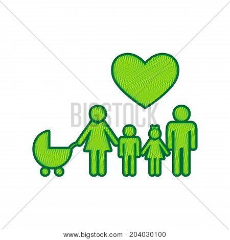 Family sign with heart. Husband and wife are kept children's hands. Vector. Lemon scribble icon on white background. Isolated