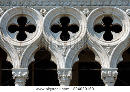 Closeup decoration of the facade of the Doge`s Palace, or Palazzo Ducale, in Venice, Italy. Dode`s Palace is one of the main tourist destination in Venice.