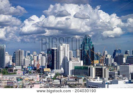 Bangkok Thailand. 3 September 2017 - The top-view photo taken on the top floor of Baiyoke 2 Tower.