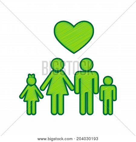 Family symbol with heart. Husband and wife are kept children's hands. Love. Vector. Lemon scribble icon on white background. Isolated