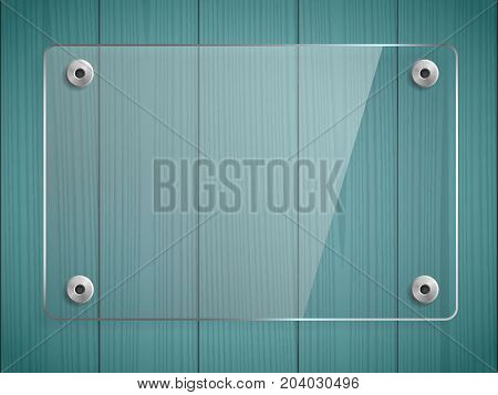 Transparent glass plate mock up. Green wooden background. See through plastic banner, mounts. Graphic design element. Decorative panel with reflection and shadow. Photo realistic vector illustration
