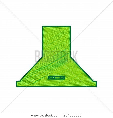 Exhaust hood. Kitchen ventilation sign. Vector. Lemon scribble icon on white background. Isolated
