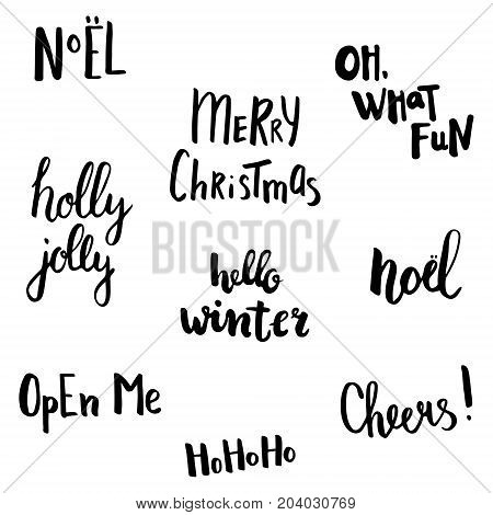 send of hand written lettering with Christmas related text