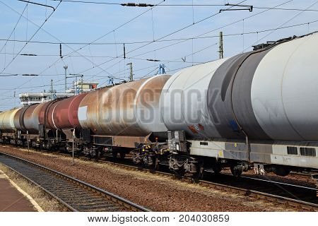 Fuel tanker railway carriages in a row