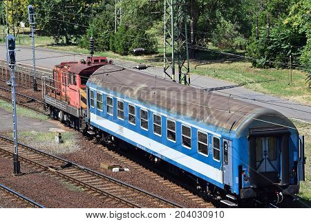 Passenger train with only one carriage on the track