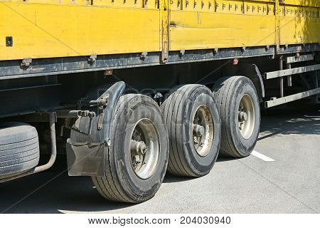 Tires and loading area of a truck