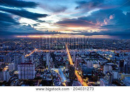 Bangkok Thailand. 3 September 2017 - The twilight hour photo taken on the top floor of Baiyoke 2 Tower.
