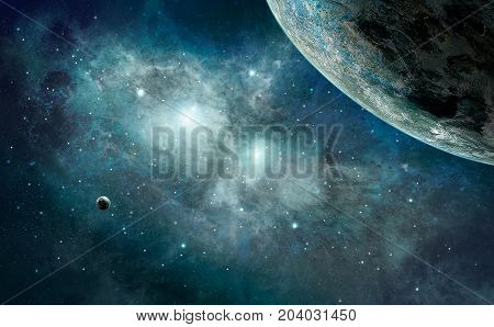 Space Scene. Blue Nebula With Planet. Elements Furnished By Nasa. 3D Rendering