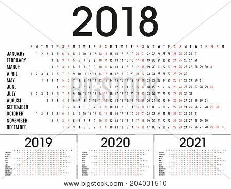 Simple 2018, 2019, 2020, 2021 planner calendar and day schedule for private use and business