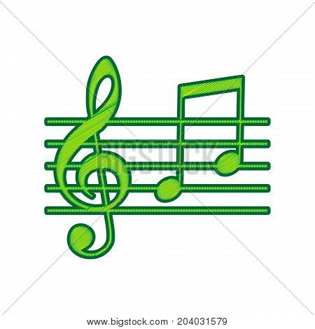 Music violin clef sign. G-clef and notes G, H. Vector. Lemon scribble icon on white background. Isolated