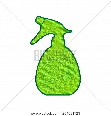 Spray bottle for cleaning sign. Vector. Lemon scribble icon on white background. Isolated