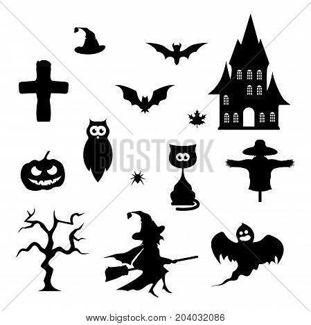 Holiday Halloween and black icons on a white background for design