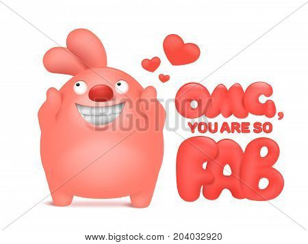 Valentine card template with pink cartoon bunny character. Vector illustration