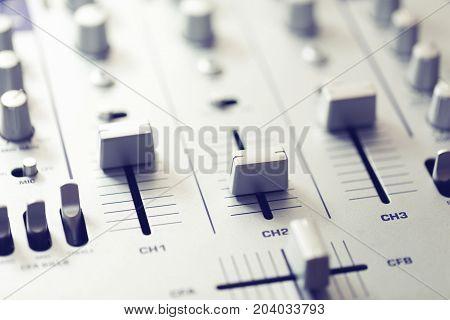 audio sound mixer. music recording studio equipment