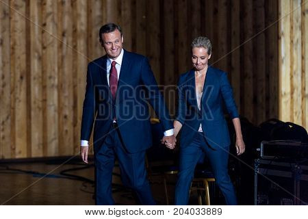 29 August 2017, RUSSIA, MOSCOW : Leader of the Russian opposition Alexei Navalny with his wife Julia during the congress of headquarters of the presidential election campaign in Moscow, Russia.
