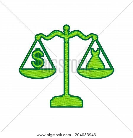 Dress and dollar symbol on scales. Vector. Lemon scribble icon on white background. Isolated
