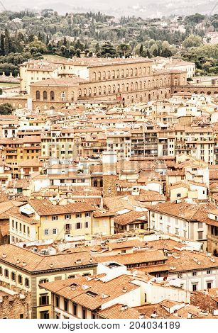The Pitti palace in Florence Tuscany Italy. Architectural theme. Yellow photo filter.