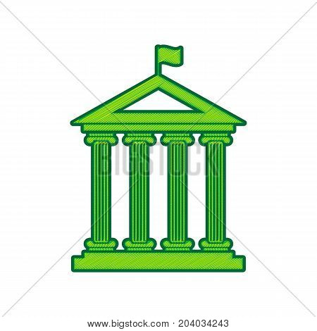 Historical building with flag. Vector. Lemon scribble icon on white background. Isolated
