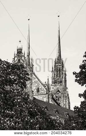 Famous Cathedral of St. Peter and Paul in Brno Moravia Czech republic. Religious architecture. Two big towers. Black and white.