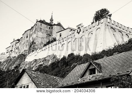 Cesky Sternberk is a Bohemian castle of the mid-13th century located within the village with the same name of the Central Bohemian region in Czech republic. Black and white photo.