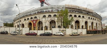 Minsk, Belarus. September 2017: reconstruction of stadium