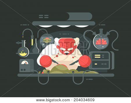 Evil professor doing experiment in bio laboratory. Vector flat illustration