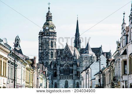 Spectacular St. Elisabeth cathedral in Kosice Slovak republic. Architectural scene. Travel destination. Blue photo filter.