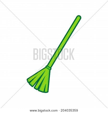Sweeping broom sign. Vector. Lemon scribble icon on white background. Isolated